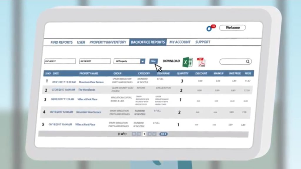 Software For Irrigation Invoice Reports and Services